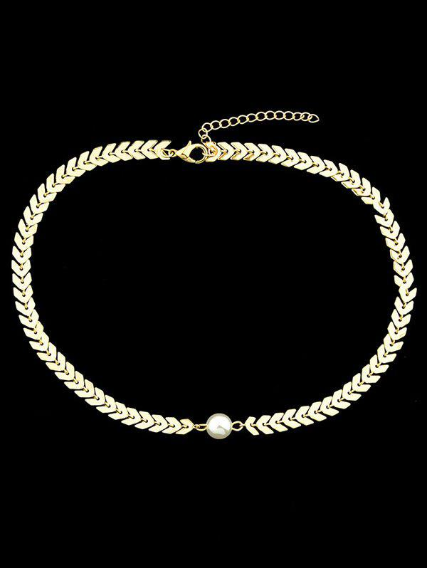 Buy Center Artificial Pearl Fishbone Chain Necklace