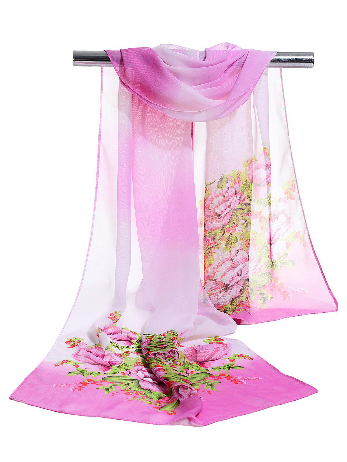 Best Floral Pattern Decorated Lightweight Chiffon Scarf