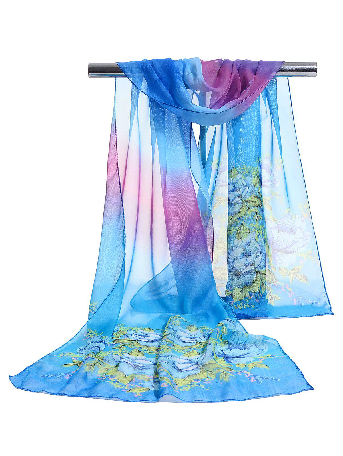 Online Floral Pattern Decorated Lightweight Chiffon Scarf