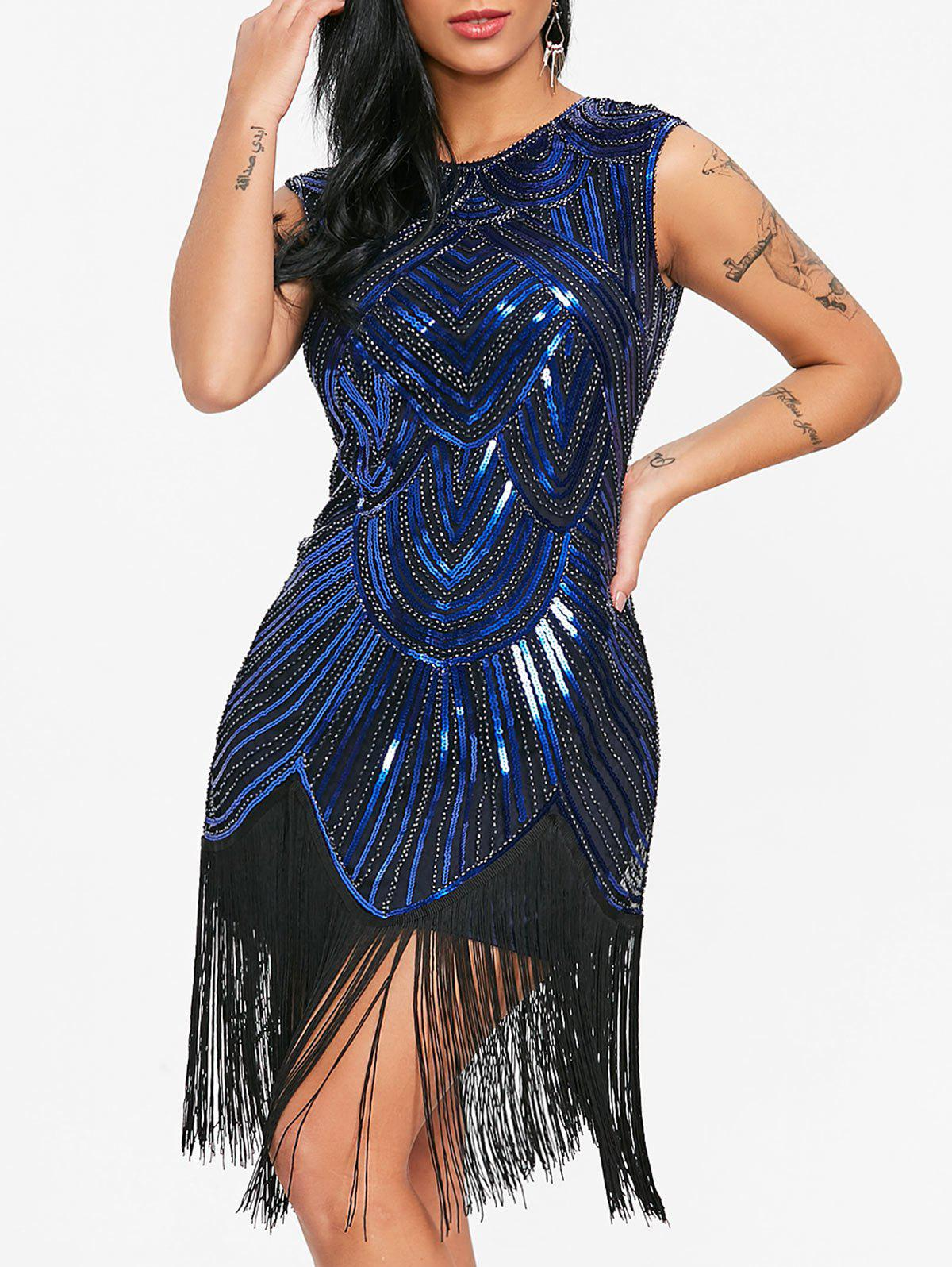 Hot Sequin Fringed Sparkle Party Flapper Dress
