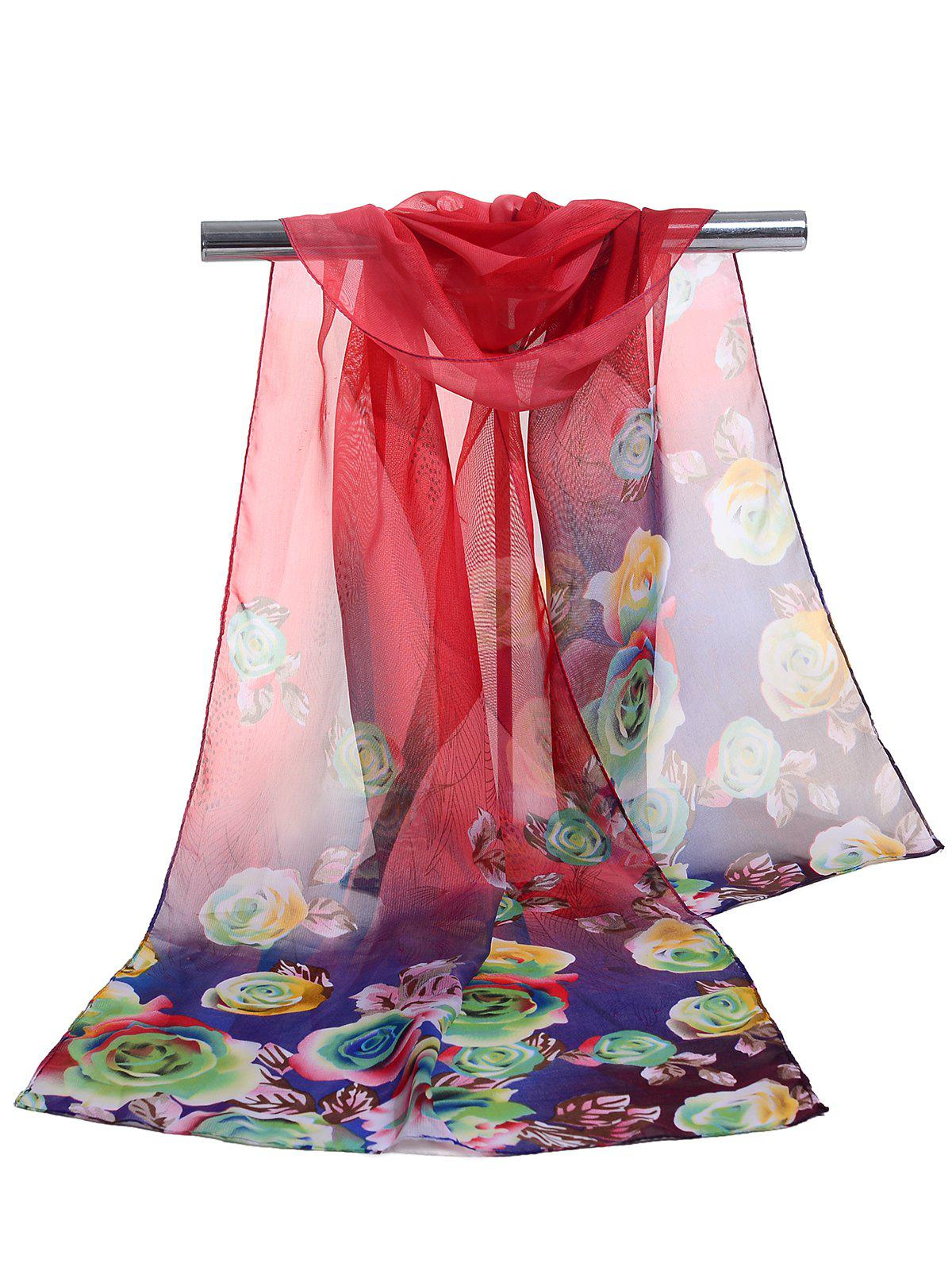 Best Pretty Floral Pattern Soft Chiffon Scarf