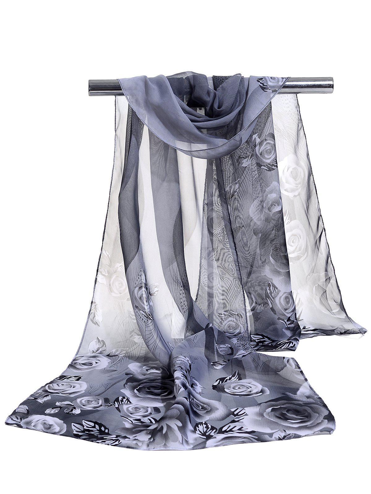 Hot Pretty Floral Pattern Soft Chiffon Scarf