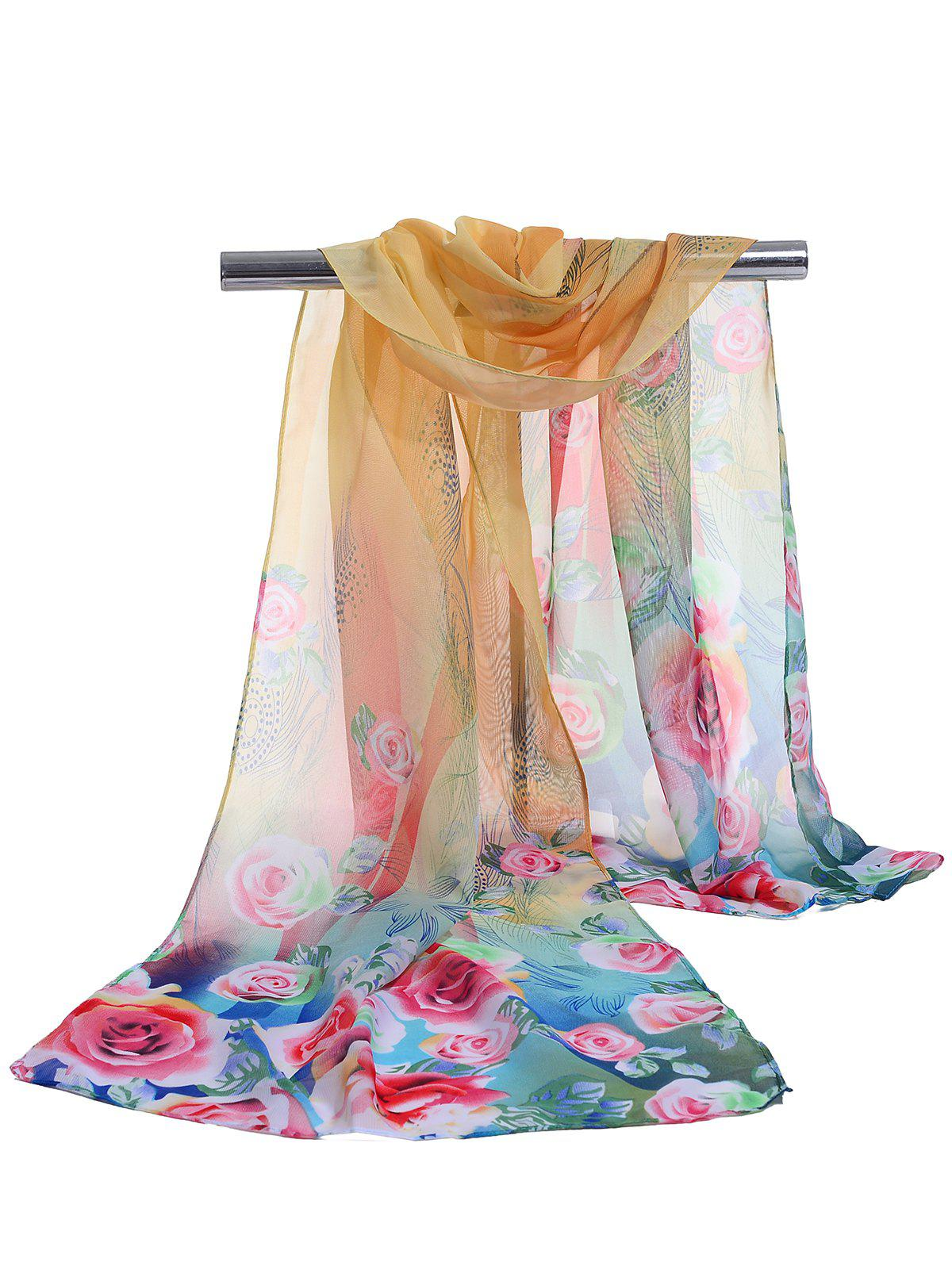 Shop Pretty Floral Pattern Soft Chiffon Scarf