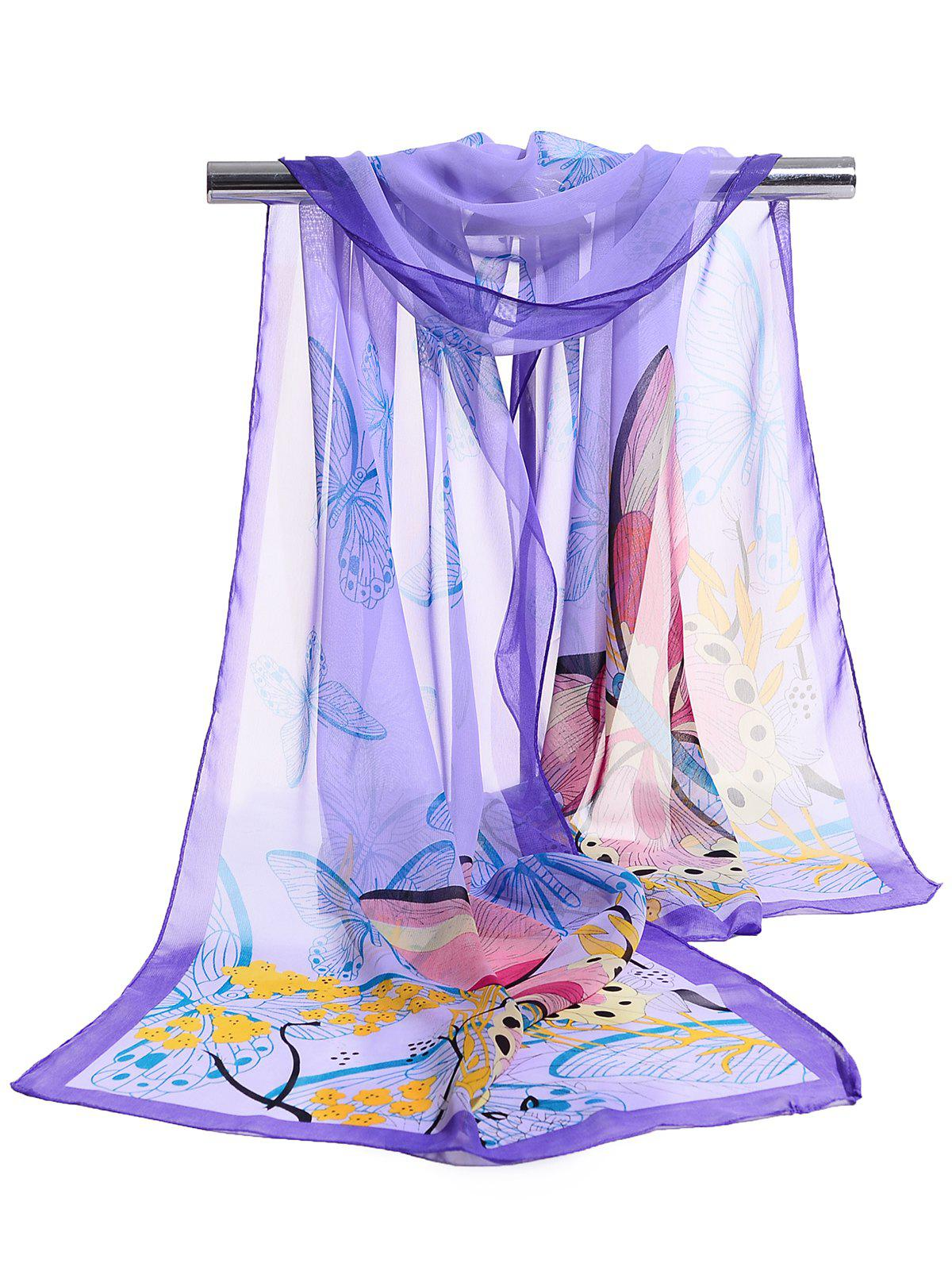 Sale Flying Butterfly Floral Pattern Silky Chiffon Scarf