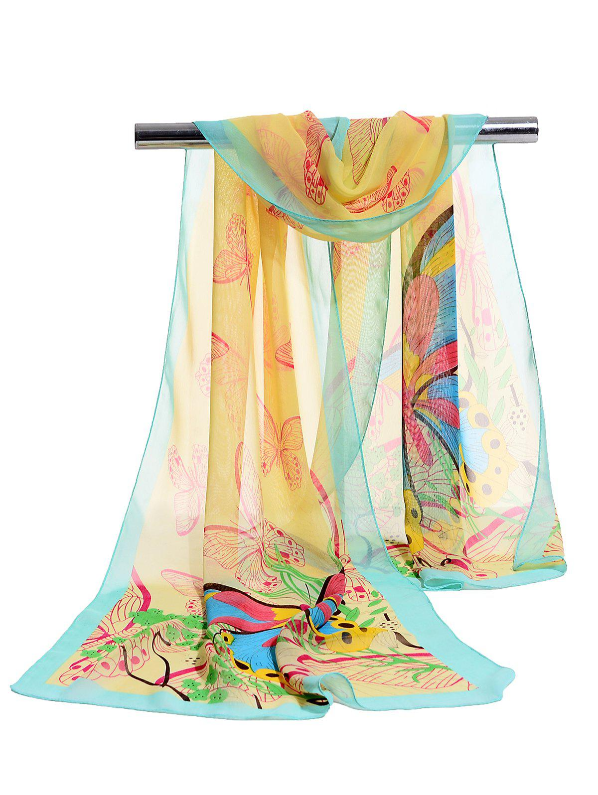 Cheap Flying Butterfly Floral Pattern Silky Chiffon Scarf