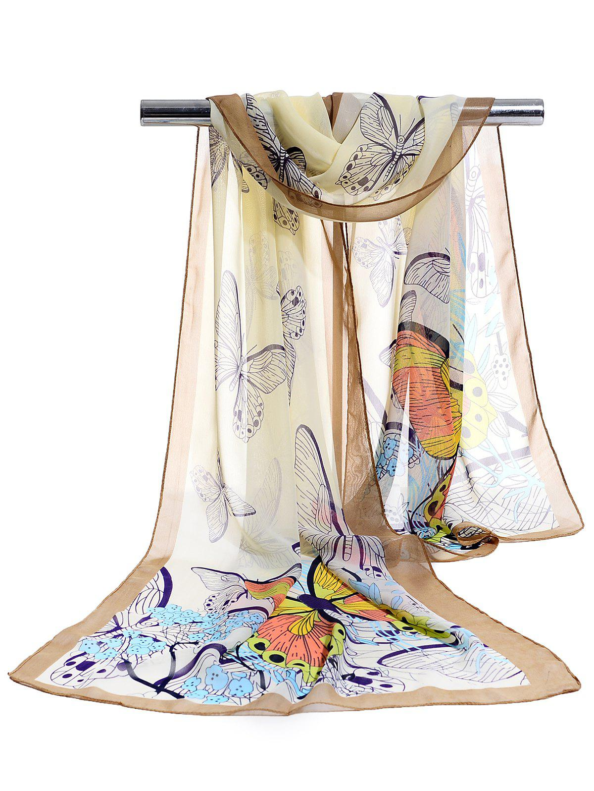 Chic Flying Butterfly Floral Pattern Silky Chiffon Scarf
