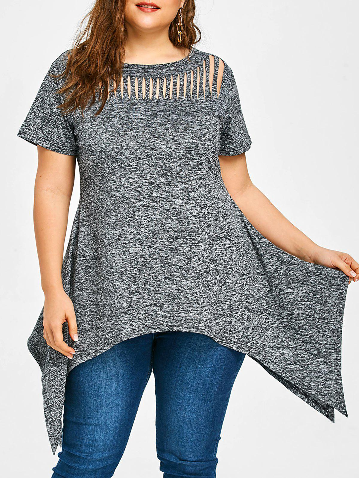 Gray 4xl Plus Size Ripped Front Handkerchief T Shirt
