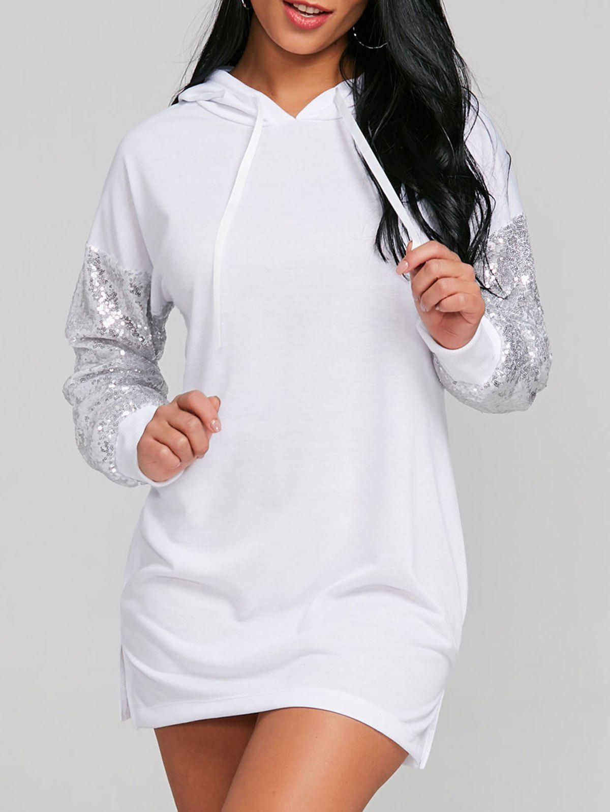 Online Sequins Embellished Hooded Dress
