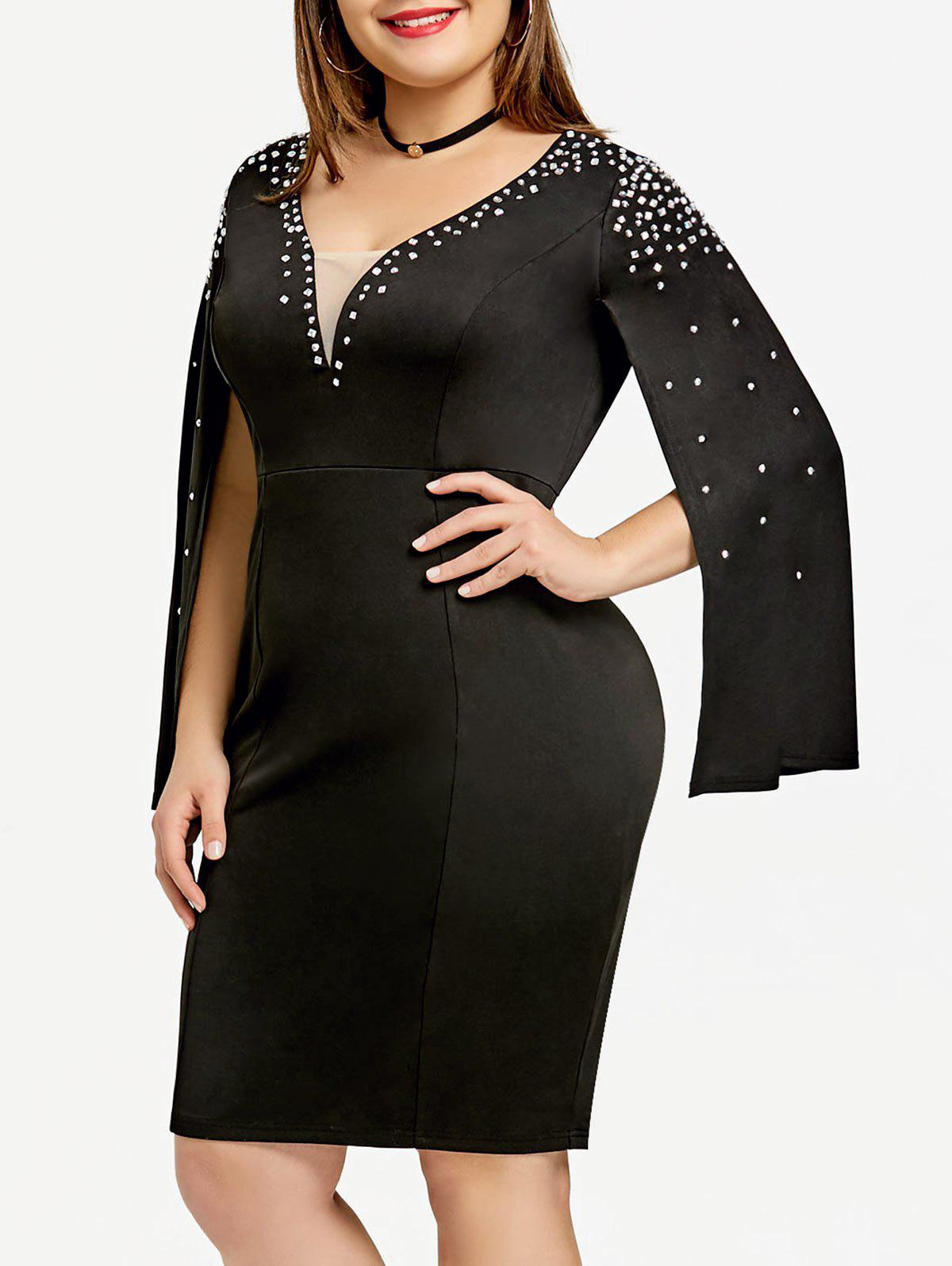 Buy Plus Size Rhinestone Split Sleeve Fitted Dress