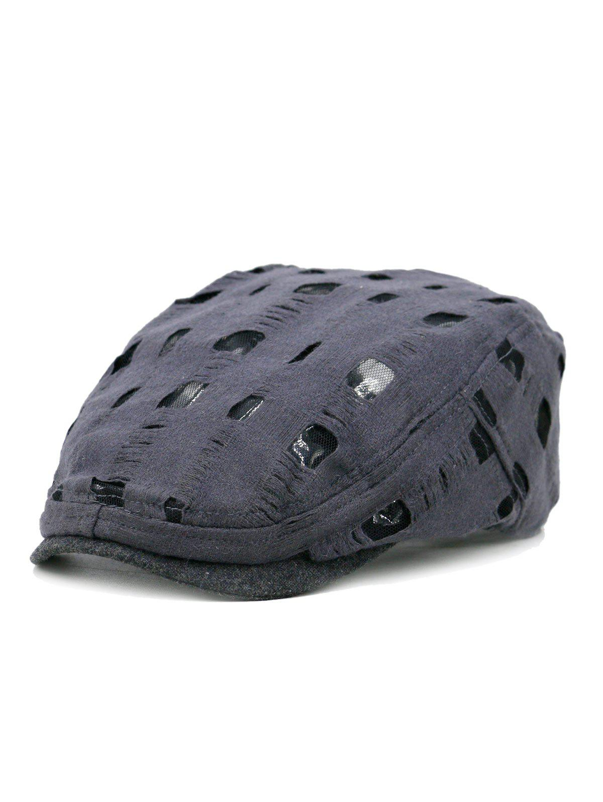 Online Simple Hollow Hole Pattern Embellished Newsboy Hat