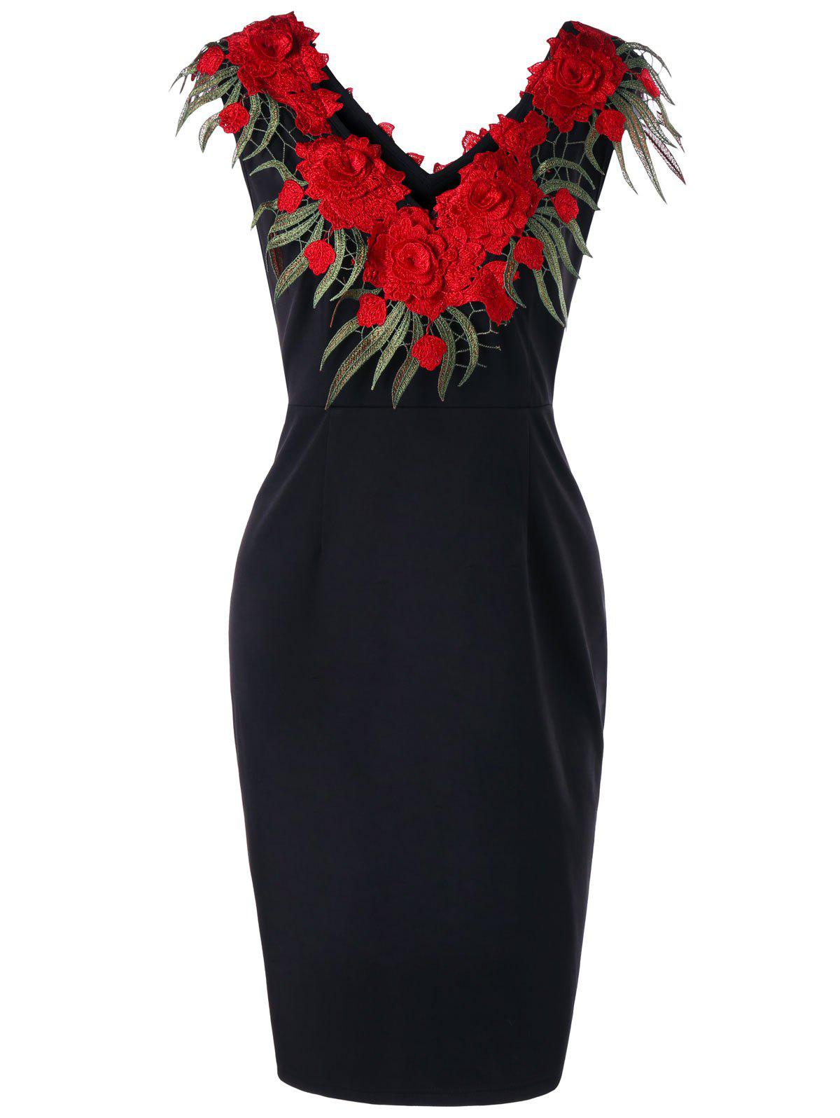 Discount Plus Size Stereo Flower Sleeveless Sheath Dress