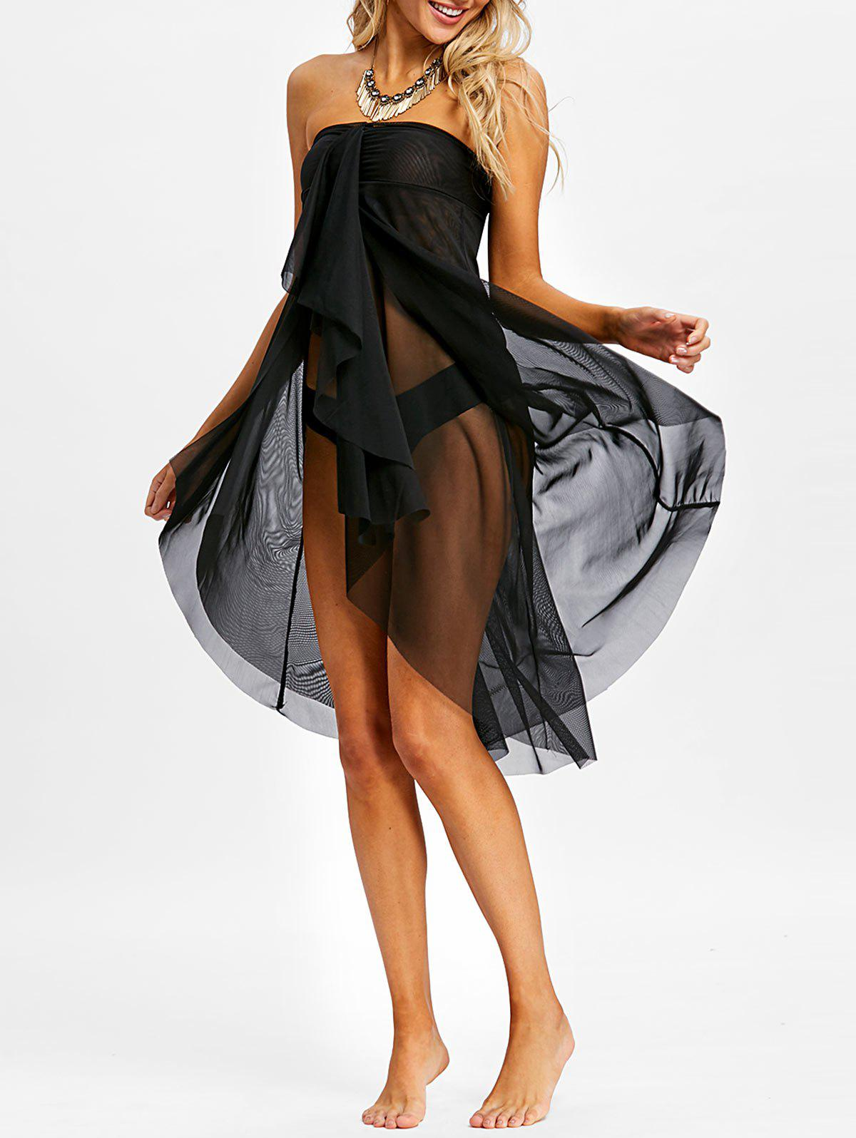 Affordable Layered Mesh Bandeau Cover Up Dress