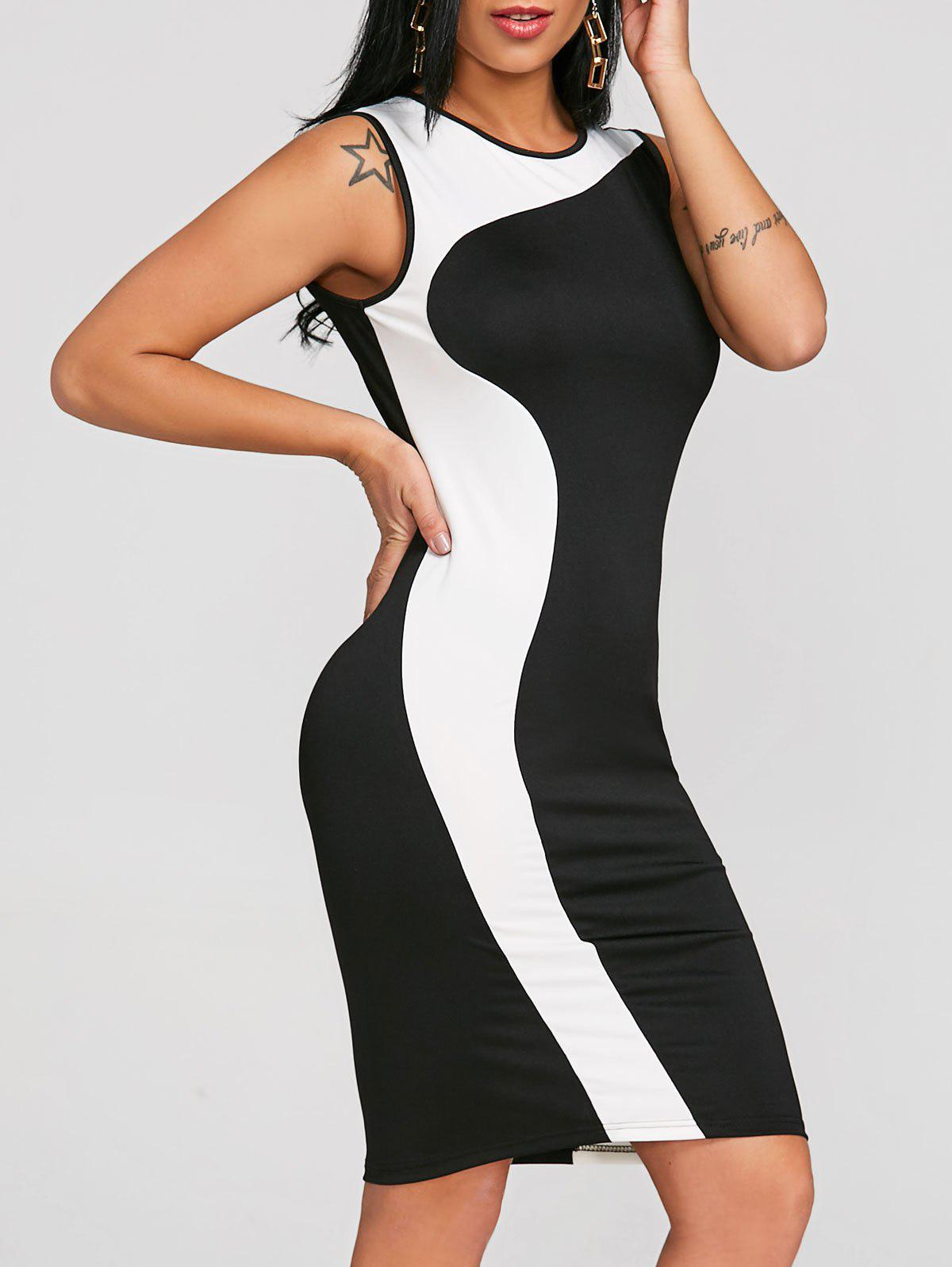 New Color Block Sleeveless Bodycon Dress