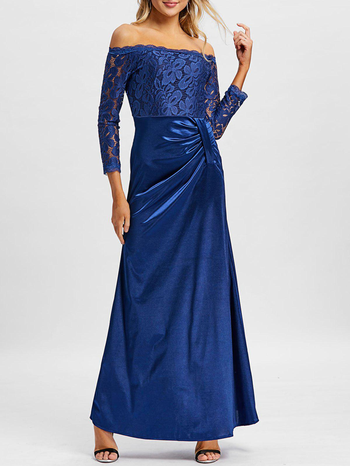 Unique Lace Insert Off The Shoulder Maxi Prom Dress