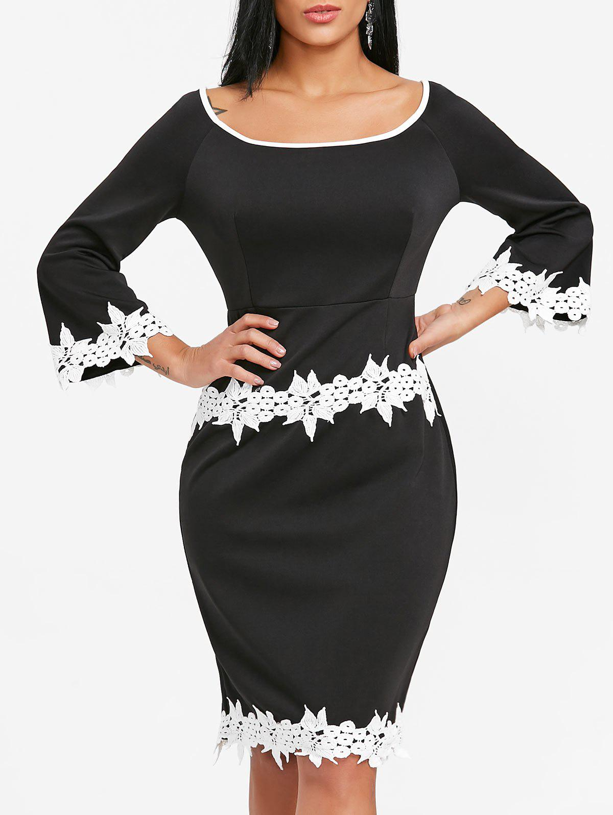 Chic Flare Sleeve Crochet Trimmed Bodycon Dress