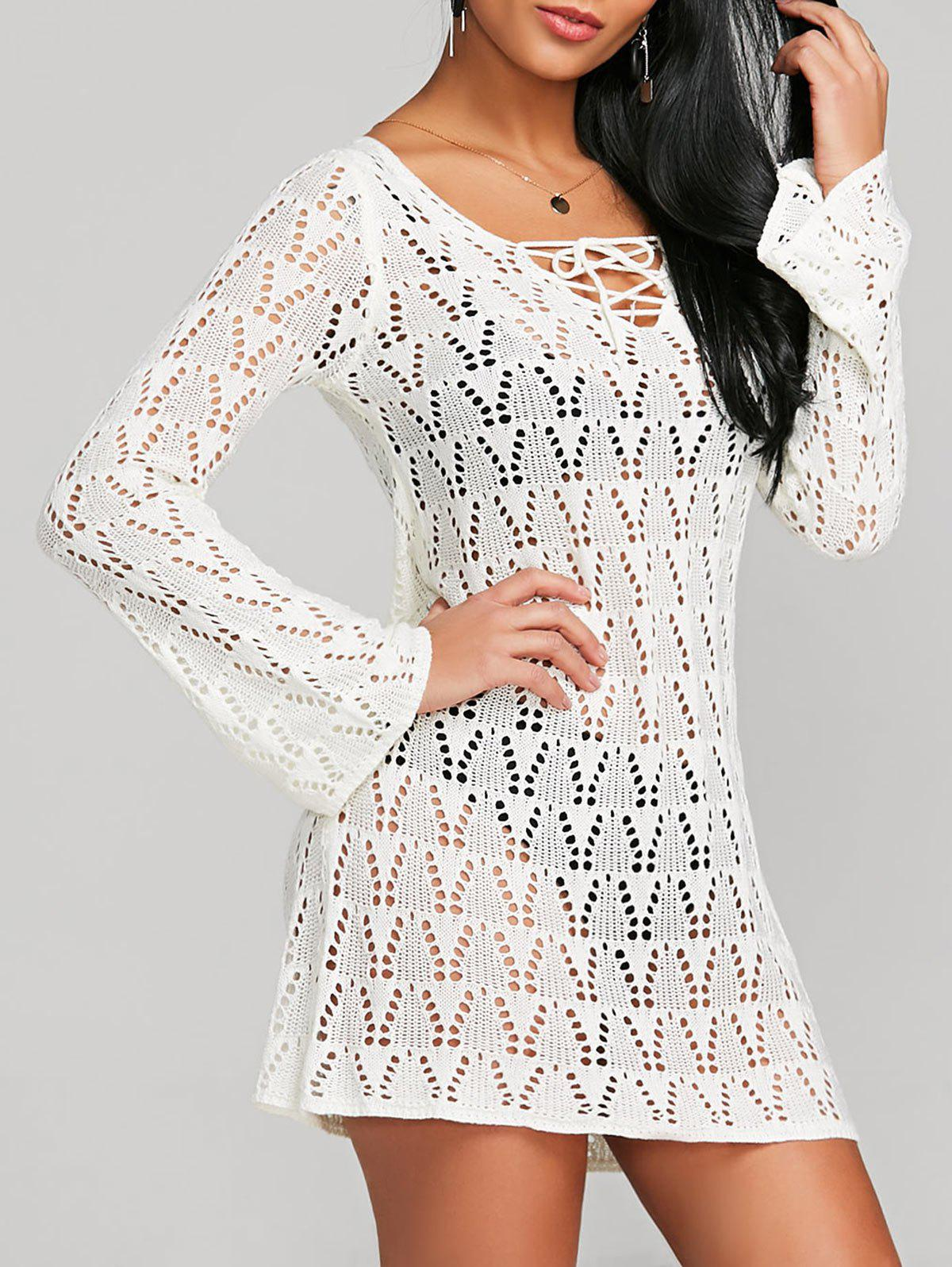 Discount Lace Up Crochet Cover Up Dress