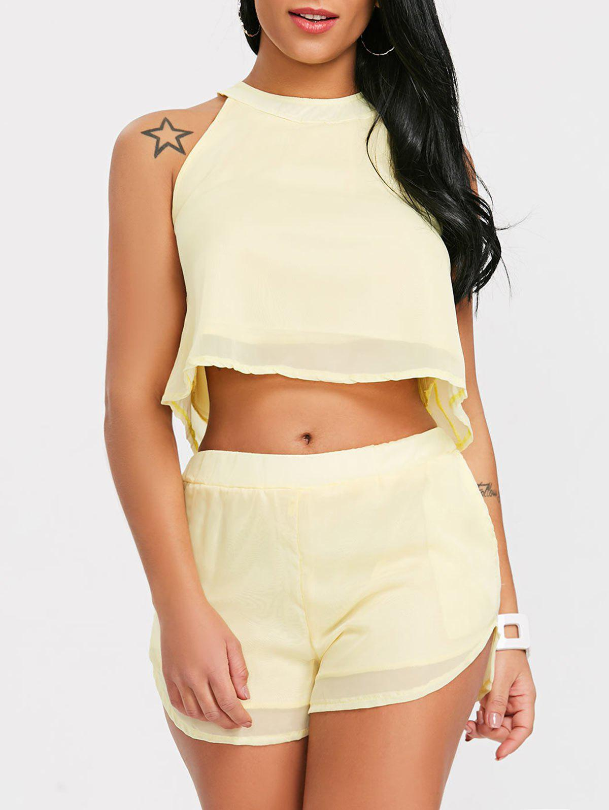 Fashion Crop Top With High Rise Shorts Two Piece Set