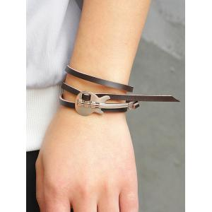 Retro Metal Guitar Faux Leather Layered Bracelet -