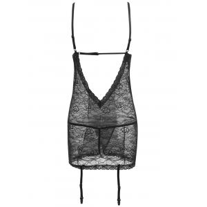 Lace Sheer Slip Babydoll with Garters -