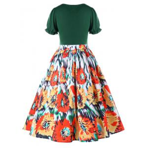 Plus Size Floral Retro Tea Dress Dress -