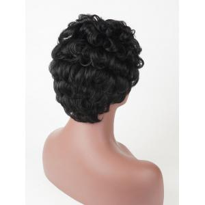 Short Side Bang Layered Fluffy Curly Human Hair Wig -