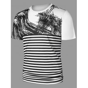 Graffiti Drawing Striped T-shirt -