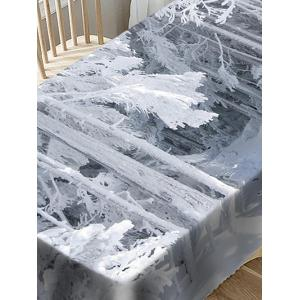 Snow-covered Wood Print Fabric Waterproof Table Cloth -