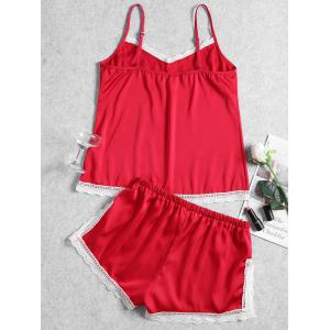 Summer Lace Trim Slip Pajama Set -