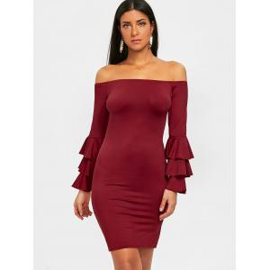 Flare Sleeve Off Shoulder Mini Bodycon Dress -