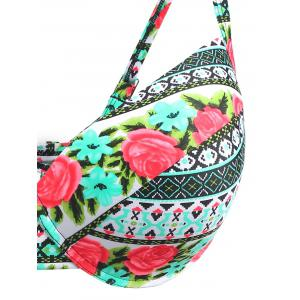 Plus Size Floral Ethnic Push Up Bikini -