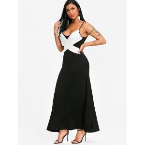 Spaghetti Strap Two Tone Long Evening Dress -