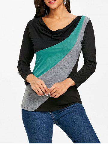 Chic Color Block Long Sleeve T-shirt