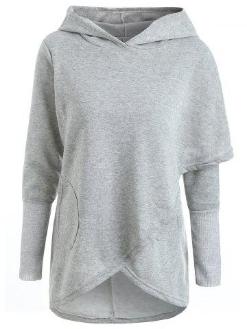 Long Sleeve Asymmetrical High Low Pullover Hoodie - GRAY - M