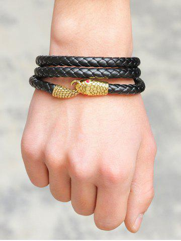Hot Faux Leather Faux Ruby Snake Layered Braided Bracelet