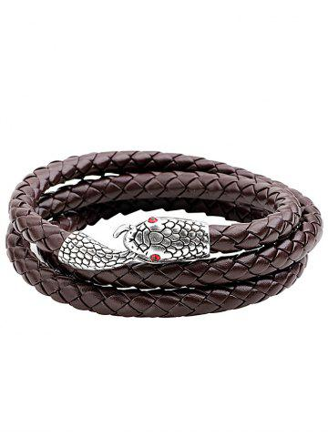 Sale Faux Leather Faux Ruby Snake Layered Braided Bracelet