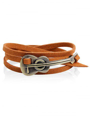 Store Retro Faux Leather Alloy Cello Wrap Bracelet