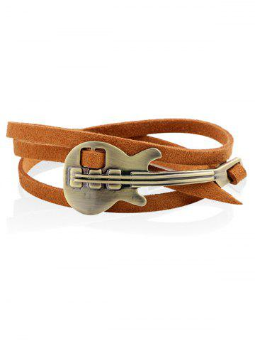 Fashion Retro Metal Guitar Faux Leather Layered Bracelet