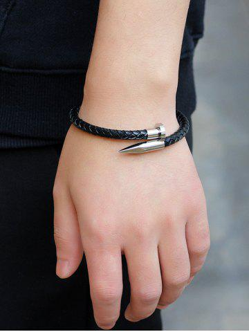 Shop Faux Leather Metal Nail Weaved Bracelet