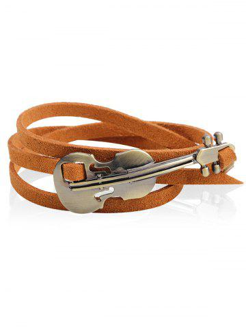 Latest Vintage Metal Violin Faux Leather Layered Bracelet