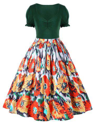 Buy Plus Size Floral Retro Tea Length Dress