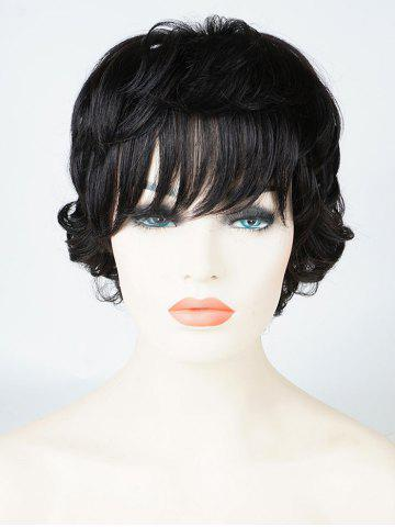 Outfit Short Layered Side Bang Slightly Curly Human Hair Wig