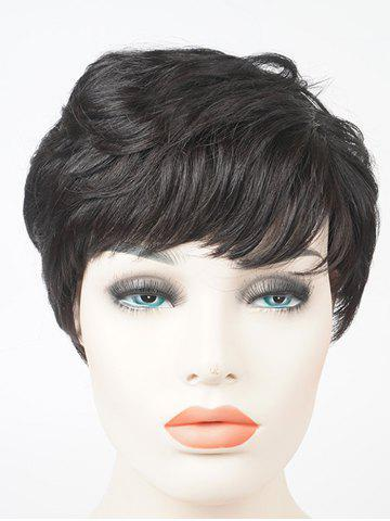 Discount Short Side Bang Layered Slightly Curly Human Hair Wig