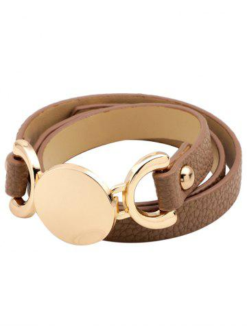 Best Faux Leather Round Disc Wrap Bracelet