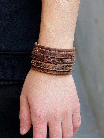 Outfit Vintage Artificial Leather Wide Bracelet
