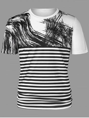 Fancy Graffiti Drawing Striped T-shirt