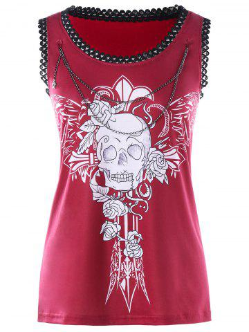New Skull Chains Embellished Tank Top