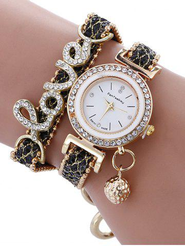 Montre à Quartz avec Bracelet à Inscription Love en Strass