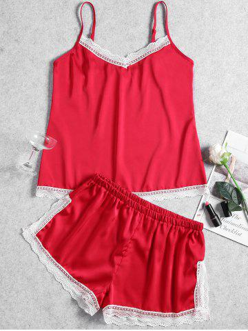 Online Summer Lace Trim Slip Pajama Set