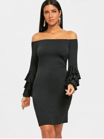 Flare Sleeve Off Shoulder Mini Bodycon Dress
