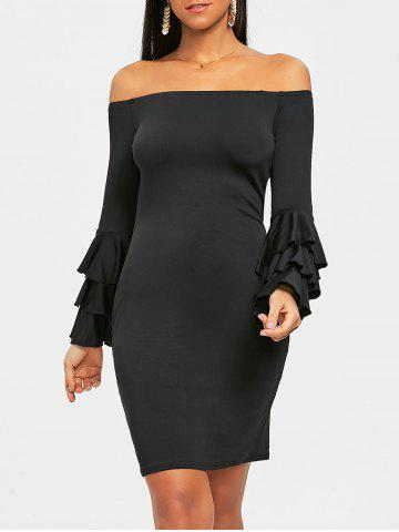 Outfit Flare Sleeve Off Shoulder Mini Bodycon Dress